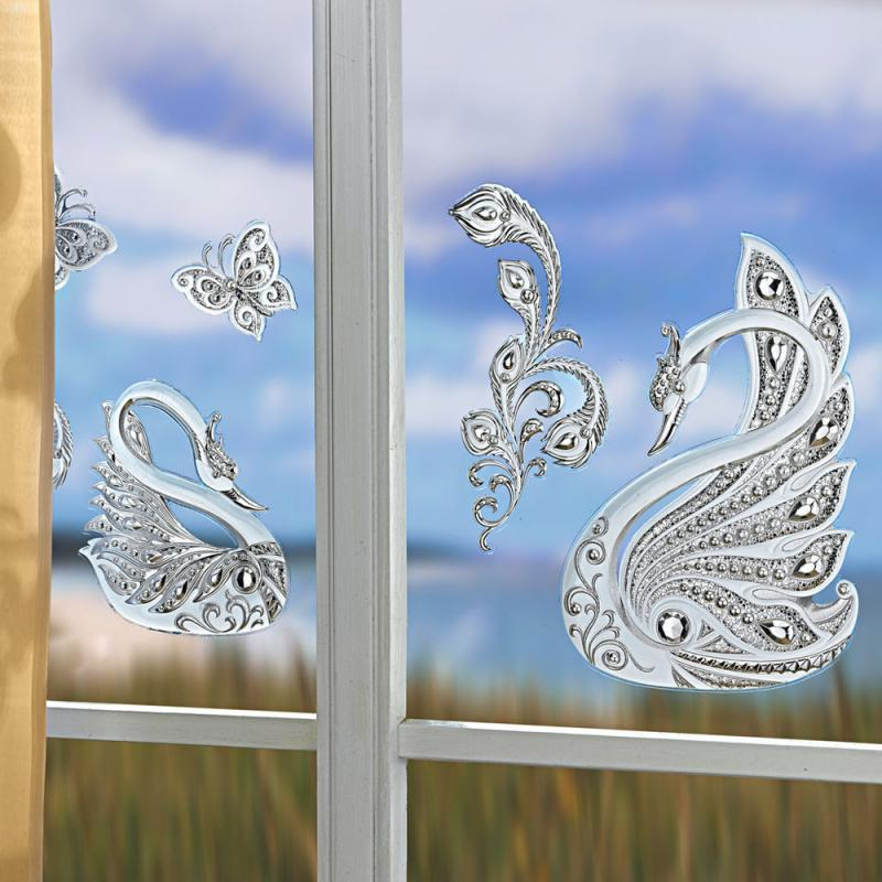 Fensterbild Schwäne silber