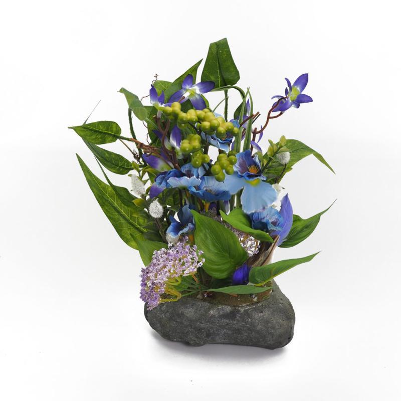 Blumengesteck im Steinoptik Topf