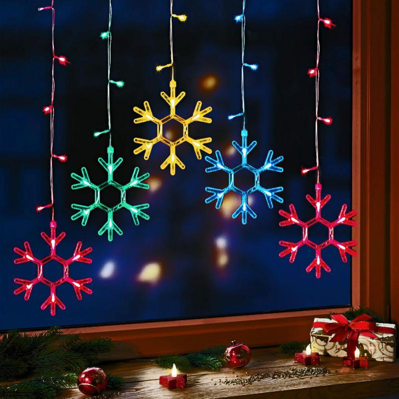 LED Lichtervorhang Schneeflocke